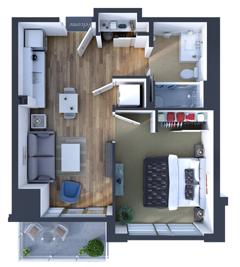 1 Bedroom Suite Model of the Retirement Residence at SOPC